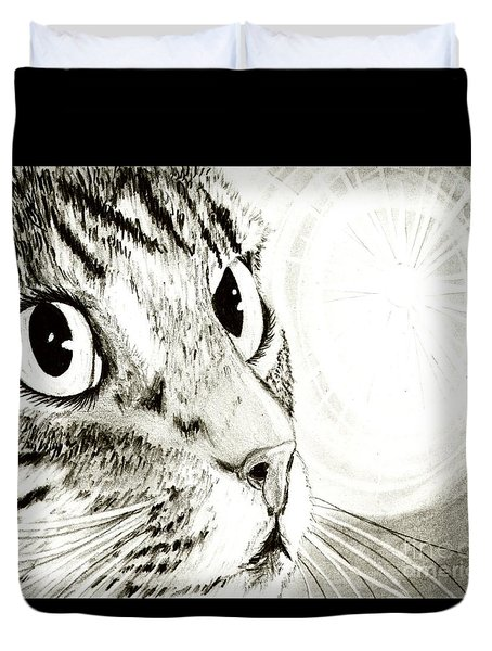 Duvet Cover featuring the drawing Fairy Light Tabby Cat Drawing by Carrie Hawks