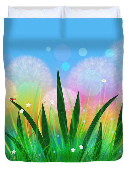 Fairy Meadow With Dandelions Duvet Cover