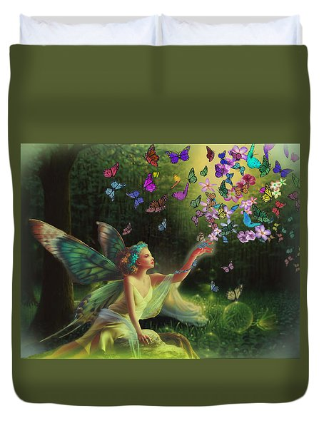 Fairy Of The Butterflies Duvet Cover by Edelberto Cabrera