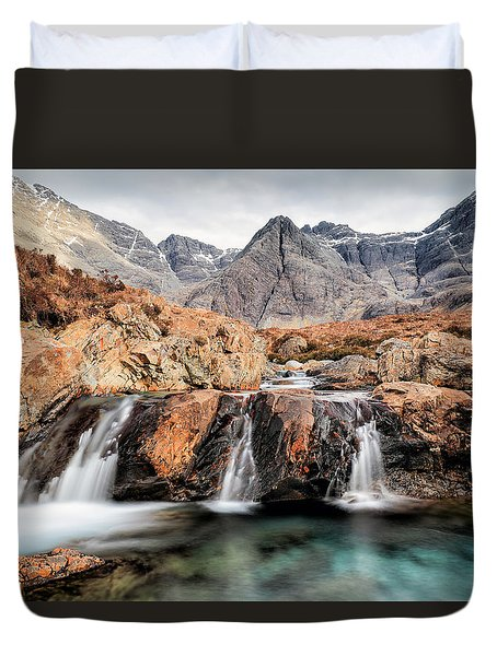 Duvet Cover featuring the photograph Fairy Pools by Grant Glendinning