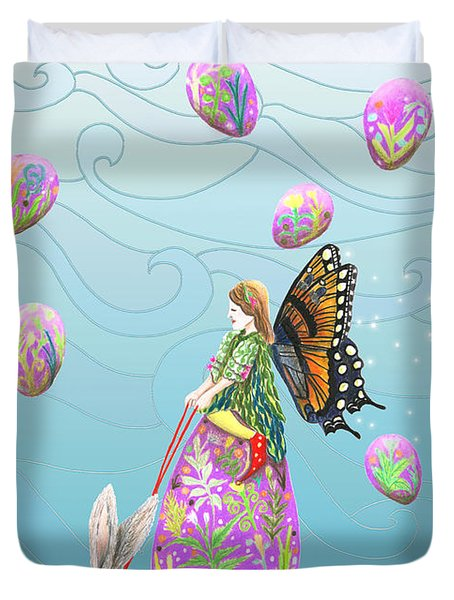 Fairy Riding An Egg And Easter Bunny Duvet Cover