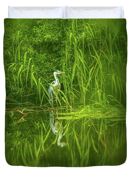Duvet Cover featuring the photograph Fairy Tale Heron #g5 by Leif Sohlman