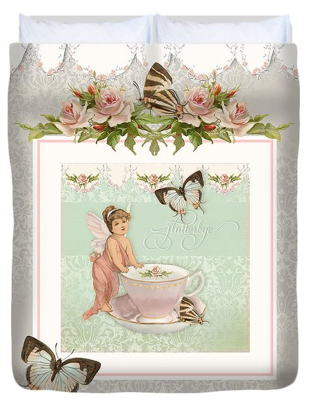 Fairy Teacups - Flutterbye Butterflies And English Rose Damask Duvet Cover