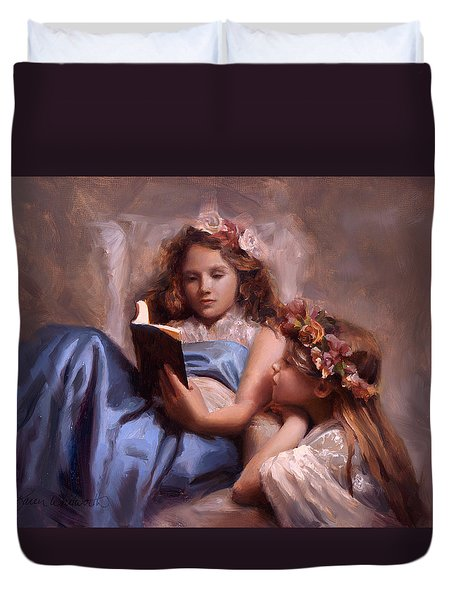 Duvet Cover featuring the painting Fairytales And Lace - Portrait Of Girls Reading A Book by Karen Whitworth