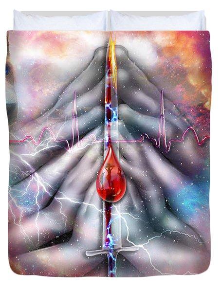 Duvet Cover featuring the digital art Faith Filled Prayer by Dolores Develde