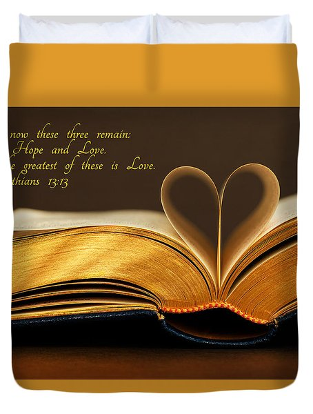 Faith. Hope. Love. Duvet Cover