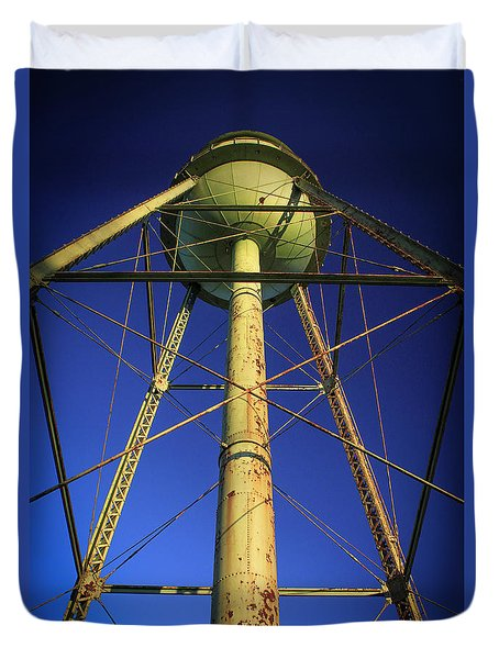 Duvet Cover featuring the photograph Faithful Mary Leila Cotton Mill Water Tower Art by Reid Callaway