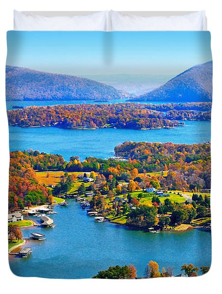 Fall Aerial Smith Mountain Lake Duvet Cover
