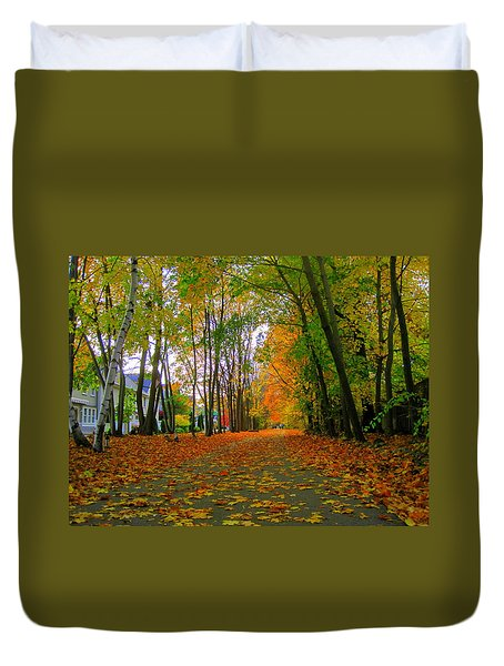 Fall Afternoon On The Rail Trail Duvet Cover