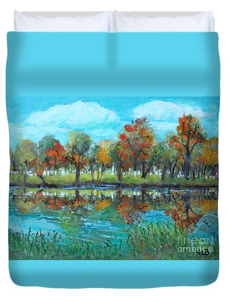 Duvet Cover featuring the painting Fall Along The Charles River by Rita Brown