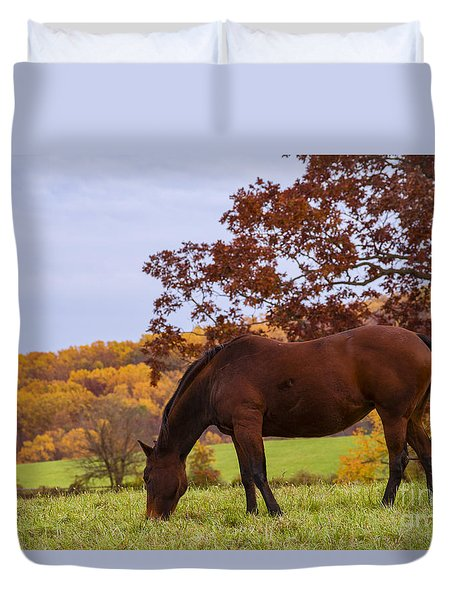 Duvet Cover featuring the photograph Fall And A Horse by Rima Biswas