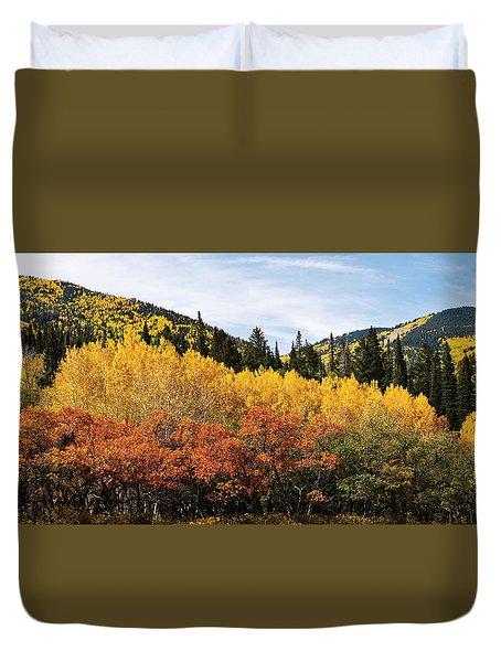 Fall Aspen Scrub Oak And Ponderosa Pine Duvet Cover