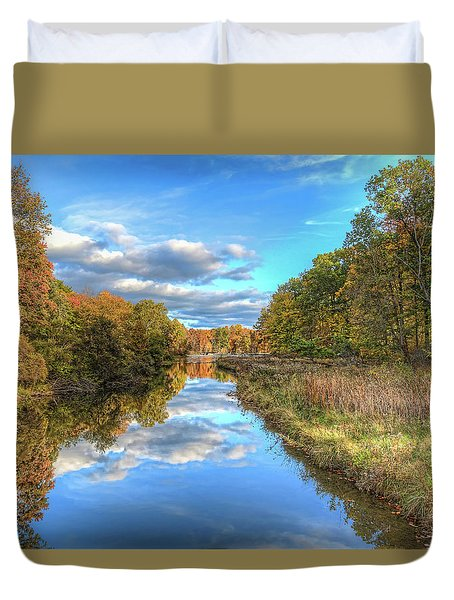 Duvet Cover featuring the photograph Fall At Brunswick Lake  by Brent Durken