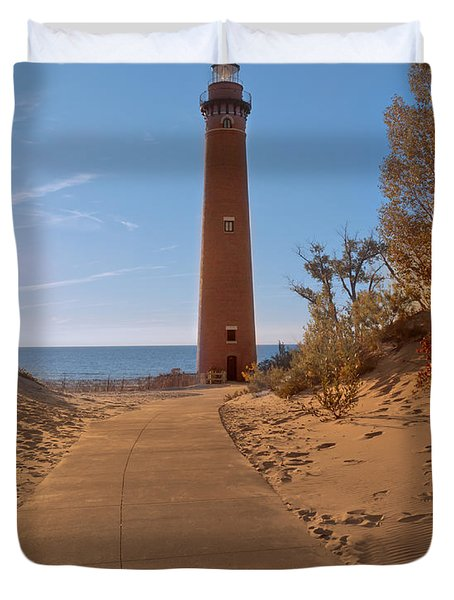 Fall At Little Point Sable Light Duvet Cover