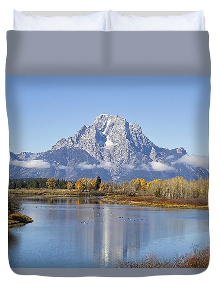 Duvet Cover featuring the photograph Fall At Teton -1 by Shirley Mitchell