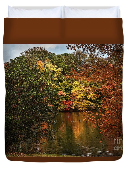 Fall At The Lake Duvet Cover by Judy Wolinsky