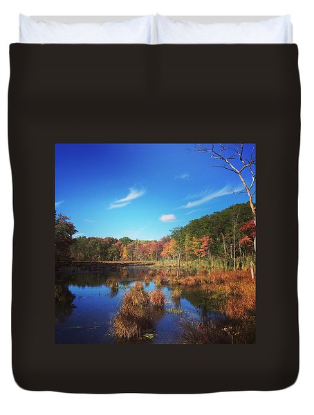 Fall At The Pond Duvet Cover