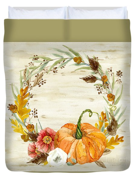 Fall Autumn Harvest Wreath On Birch Bark Watercolor Duvet Cover