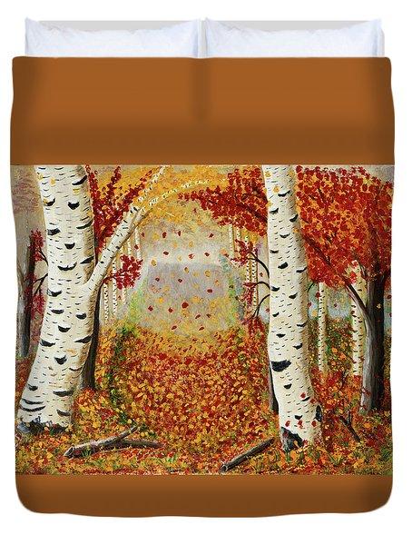 Fall Birch Trees Duvet Cover by Susan Schmitz