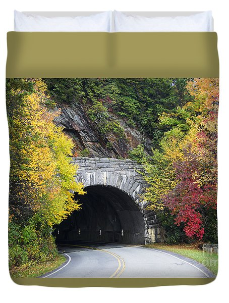Fall Blue Ridge Parkway @ Rough Ridge Tunnel  Duvet Cover by Nature Scapes Fine Art