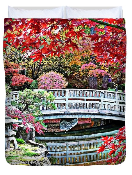 Fall Bridge In Manito Park Duvet Cover by Carol Groenen