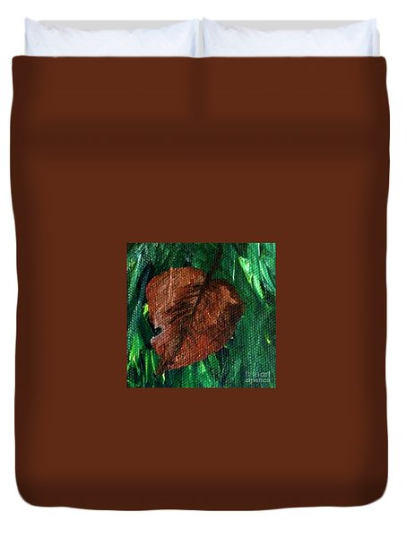 Duvet Cover featuring the painting Fall Brown Leaf by Janelle Dey