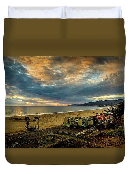 Fall Clouds Over The Bay Duvet Cover