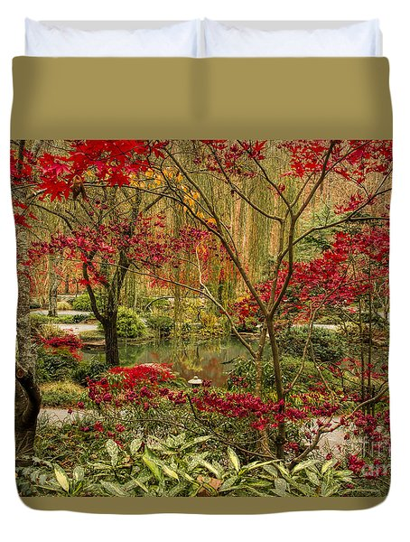 Duvet Cover featuring the photograph Fall Color In The Japanese Gardens by Barbara Bowen