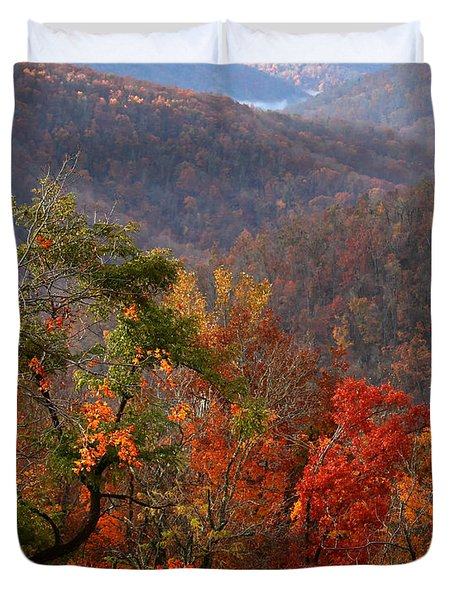 Duvet Cover featuring the photograph Fall Color Ponca Arkansas by Michael Dougherty