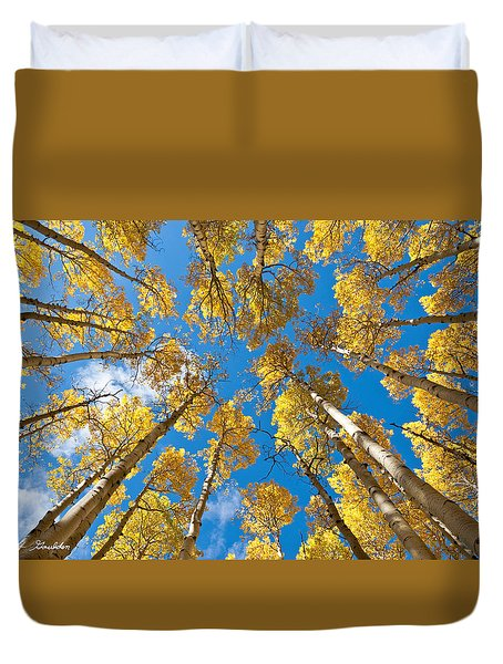 Fall Colored Aspens In The Inner Basin Duvet Cover