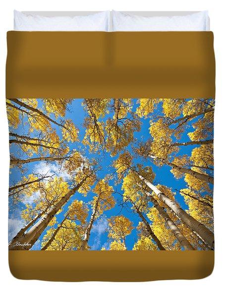 Fall Colored Aspens In The Inner Basin Duvet Cover