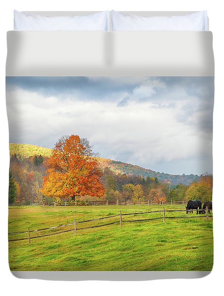 Duvet Cover featuring the photograph Fall Colors After The Storm. by Jeff Folger