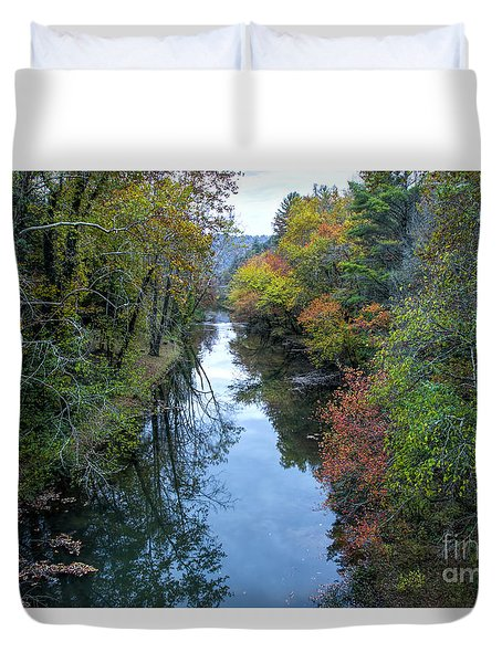 Duvet Cover featuring the photograph Fall Colors Along The Tallulah River by Barbara Bowen