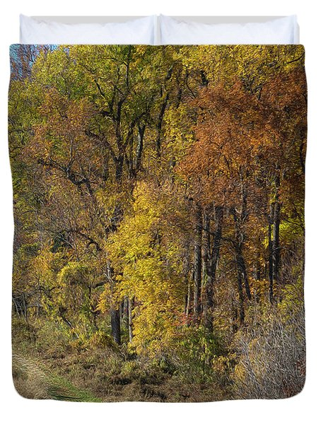 Fall Colors As Oil Duvet Cover