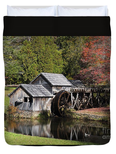 Fall Colors At Mabry Mill Blue Ridge Parkway Duvet Cover by Nature Scapes Fine Art