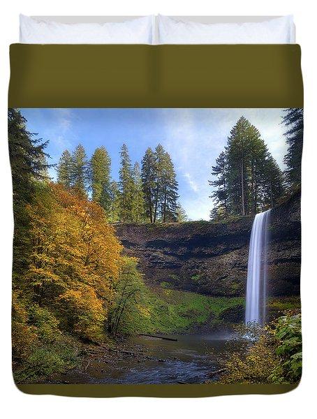 Fall Colors At South Falls Duvet Cover by David Gn