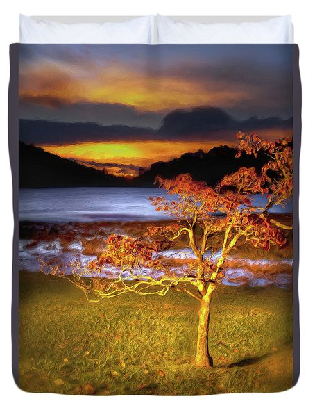 Fall Colors At Sunrise In Otter Blue Ridge Ap Duvet Cover by Dan Carmichael