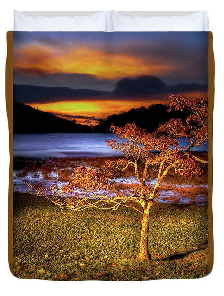 Duvet Cover featuring the photograph Fall Colors At Sunrise In Otter Blue Ridge by Dan Carmichael