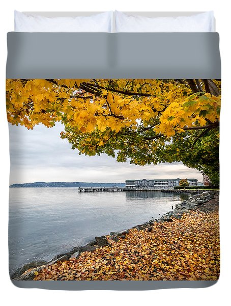 Fall Colors Framing Commencement Bay Duvet Cover