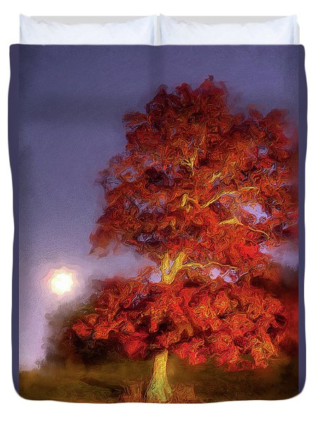 Duvet Cover featuring the painting Fall Colors Moonrise In The Blue Ridge Ap by Dan Carmichael