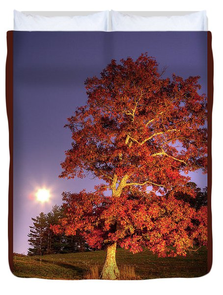 Duvet Cover featuring the photograph Fall Colors Moonrise In The Blue Ridge by Dan Carmichael