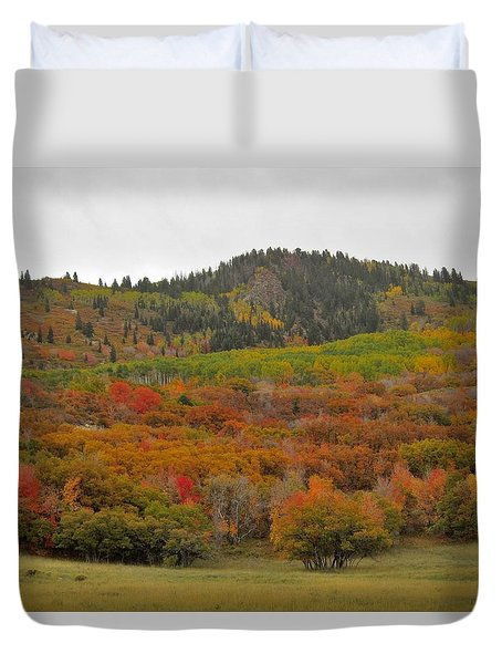 Duvet Cover featuring the photograph Fall Colors On The Mountain by Deborah Moen