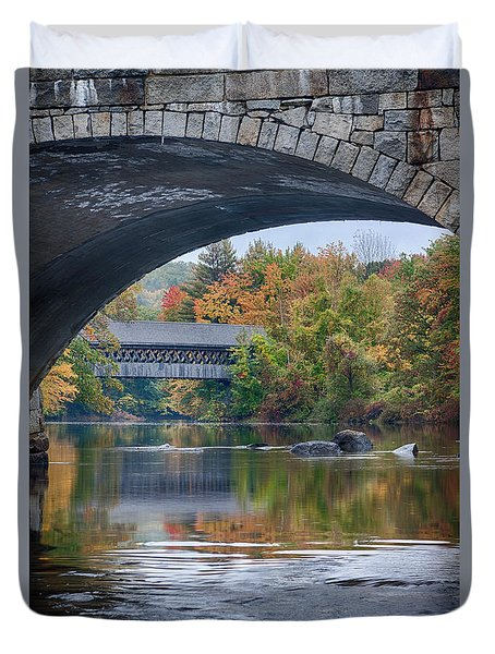 Duvet Cover featuring the photograph fall colors over Henniker covered bridge by Jeff Folger