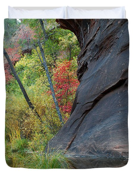 Fall Colors Peek Around Mountain Vertical Duvet Cover by Heather Kirk