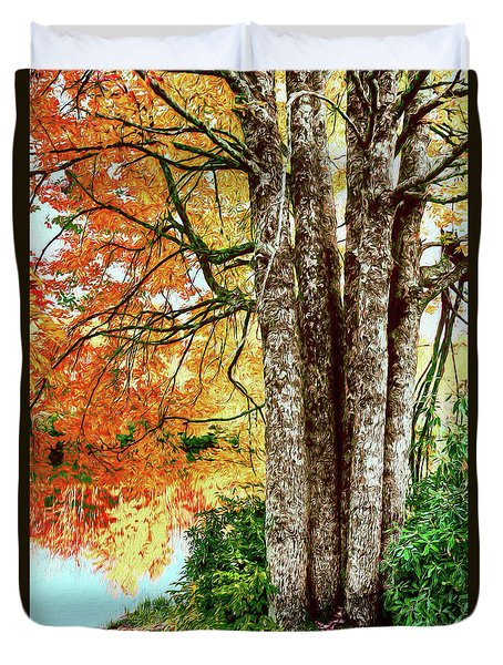 Fall Colors Reflecting In A Blue Ridge Lake Ap Duvet Cover by Dan Carmichael