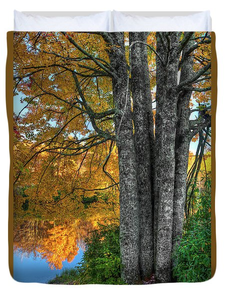 Duvet Cover featuring the photograph Fall Colors Reflecting In A Blue Ridge Lake by Dan Carmichael
