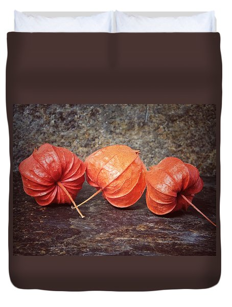 Duvet Cover featuring the photograph Fall Colors With The Winter Cherries by Karen Stahlros