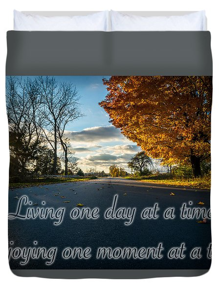 Fall Day With Saying Duvet Cover