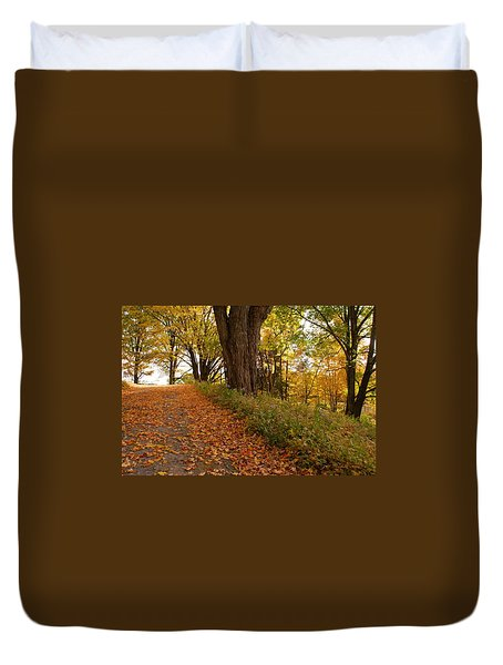 Duvet Cover featuring the photograph Fall Driveway by Lois Lepisto