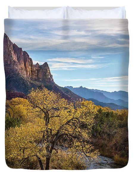 Fall Evening At Zion Duvet Cover